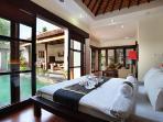 Bedroom looking on to Pool