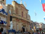 Parish Church outside decorations during feast day
