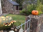 View from front gate across to stables with pumpkins cut for Halloween