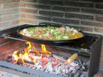 Cooking paella on the grill