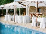 Ibiza wedding venues - table layout pool area