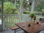 Screened-in patio and picnic table