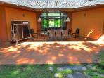 Patio with dining table  and tennis table