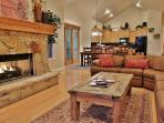View of living room with HD TV/DVD, fireplace, and sections with queen sleeper in Town Pointe Treasure - Park City