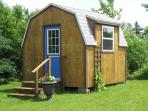 The locking shed, with laundry facilities and storage for bicycles etc.