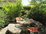 Shaded patio area that is ideal for alfresco dinning