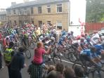 Cycling is popular in the area but sometimes gets crowded! We were on Le Tour de France route