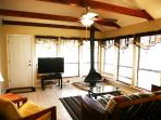 Living room overlooking Beautiful Cypress Creek. 46 'TV, internet, cable, fireplace, queen futon