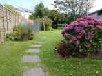 Stepping stones past hydrangeas and lavender from rear drive