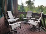 Comfortable swivel rocking chairs, great for lake watching and stargazing