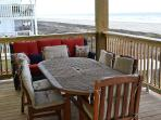 Outdoor table, seats 6.  Have your breakfast and the best views in Galveston.