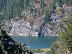 The bluffs at the base of Elephant Mtn have ancient Indian petroglyphs visible from the water