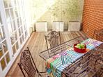 Private sunny courtyard, access is via the French doors in the kitchen.