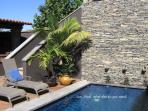 First Impressions...Guest Pool with Stacked Rock and Drizzling Water Features...