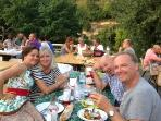 Me with friends at the Wednesday local producers evening meal, each Wednesday thro July and Aug