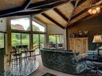 Breakfast nook with view of golf course