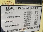 beach pass rates and entrance one block away for driving on beach