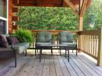 seating on the covered front porch