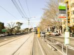 100 meters to tram stop to city or beach