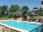 10 sun loungers around the main pool - and a shaded summer lounge and kitchen. Space for all.