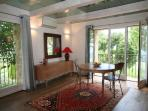 (rented separately) Pigeonnier apartment living/dining and kitchen area on the ground floor