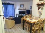 Open concept kitchen/family room.