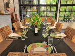 Spacious dining area overlooking your private pool and tropical lush garden