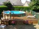 Beautiful heated pool. 6 metres wide, 1.3m deep , decking and safety fencing. Perfect for family fun