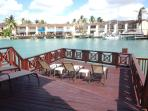 Fabulous extended large deck with mooring. dining for 6 persons, 5 loungers, BBQ