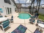 Our sparkling pool with extended deck area which is South facing and very private