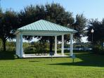 The very close gazebo overlooking the lake