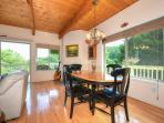 Dining room table within the open floor plan