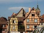 Une maison alsacienne typique à colombages.