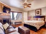 Downstairs Suite B with queen bed, sofa, wood-burning fireplace and HDTV.