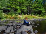 The many river rocks are a great place to enjoy the river or meditate