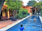 The solar-heated 4 ft. deep pool at Casa Murguia makes for perfect for swimming laps or playing.