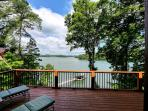 HUGE upper deck with views of protected woods and Lake. Lots of seating & grill