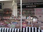 Neighbouring market vendor selling Traditional English Sweets