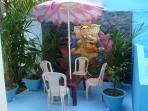 Very Private ,tropical plants,furniture ,very unusual garen.