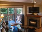 Gas fire place in the living room Stoney Creek Sunpath chalet
