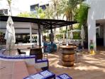 Communal bar and great restaurant by the large swimming pool