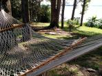 Hammock and horseshoes in the shade