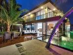 Villa U at night - 3 bed beach-front villa with full-time staff