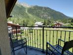 Balcony of the lounge offers wonderful views of La Flegere and Aiguilles Rouges.