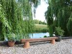 More outdoor seating under the willow.