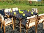 Garden table and chairs on the patio for al fresco dining