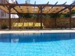 pool which is south facing with plenty of shade under our handcrafted pergola and table tennis