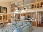 Split-level great room with balcony