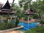 Shared tropical gardens and pools