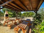 The Wooden Gazebo which serves the BBQ and Picnic Area with traditional Spanish BBQ